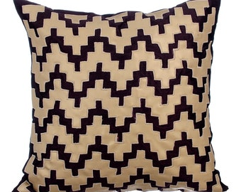 "Designer Leather Throw Pillows Cover, 16""x16"" Beige And Brown Leather Pillow Covers, Square Leather Applique Pillow Cover - Life in Progress"