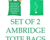 SET of 2 Two The Archers Tote Shopping Bag Screen Printed Green Ambridge Gift Radio 4