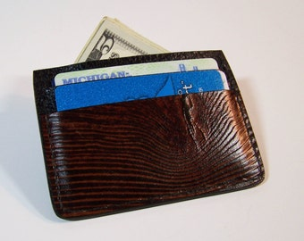 Leather Card Case/Thin Wallet  - Use for Credit Cards, Drivers License etc. - Wood Grain Design