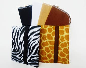 Handkerchief Tissue Cozy Set of 2 with 4 Travel Size Tissues - Eco Friendly Kleenex Pack - Reusable Tissues - Cloth Tissues - Flannel Tissue