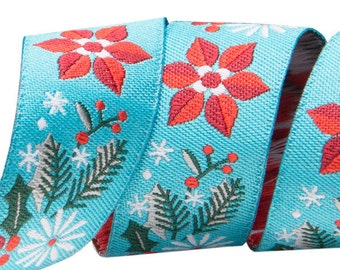 7/8-inch woven jacquard ribbon, red poinsettas on turquoise background
