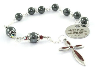 Anglican Pocket Rosary, Small Christian Prayer Beads, Philippians 4.13