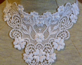 White large rayon venise lace applique necklace with white pearl beads - trach stoma cover