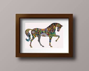 Horse of Many Colors - beautiful colorful horse rainbows flowers sparkles modern needlecraft pdf cross stitch pattern - INSTANT DOWNLOAD