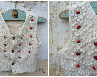 Vintage Austria 1970/70s Hand knitted & embroidered baby  vest/sweater /  Trachten dirndl size 1/2 years