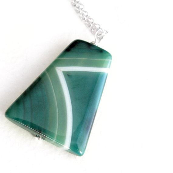 Emerald Green Agate Pendant, Geometric Necklace, Trapezoid Stone Jewelry, Gifts Under 25
