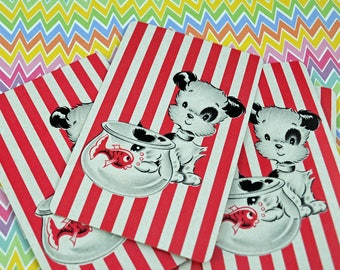 Red White Striped Playing Cards Puppy Watches Fish Craft, Swap, Scrap #183B