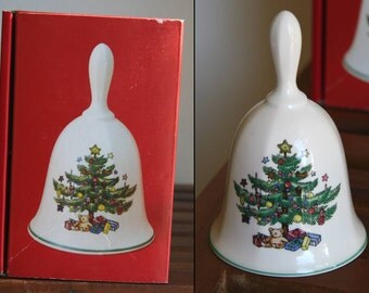 "JOYFUL TONE: Vintage Nikko ""Christmastime"" Dinner Bell, Fine Bone China, 5-inches Tall, Decorated Evergreen Tree with Gifts, in Original Box"
