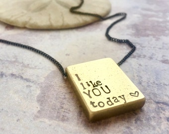Personalized men necklace, I like you today, Valentines gift, Custom hand stamped mantra necklace, custom name necklace, men necklace