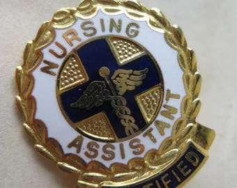 Nursing Assistant Pin Certified Brooch Gold Blue White Enamel Vintage