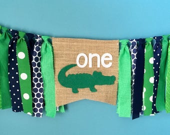 High Chair Fabric Banner Crocodile Alligator Birthday Party banner photo prop cake smash rag banner green white navy blue 1st Birthday