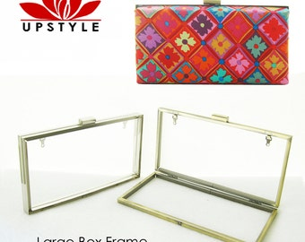 NEW - Large Box Clutch Purse Frame - Minaudiere - No Sew Project - Antique Gold or Nickel (silver) with chain loops
