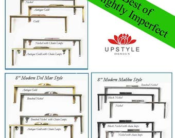 "SAVE 50%  Set of 5 Frames - 8"" Modern Style Frames - BEST of Slightly Imperfect Clutch Purse Frames - Ships from USA"
