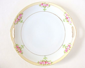 Vintage Handled Cake Plate - Hand Painted Pink Roses, Nippon - Blue Rising Sun Mark