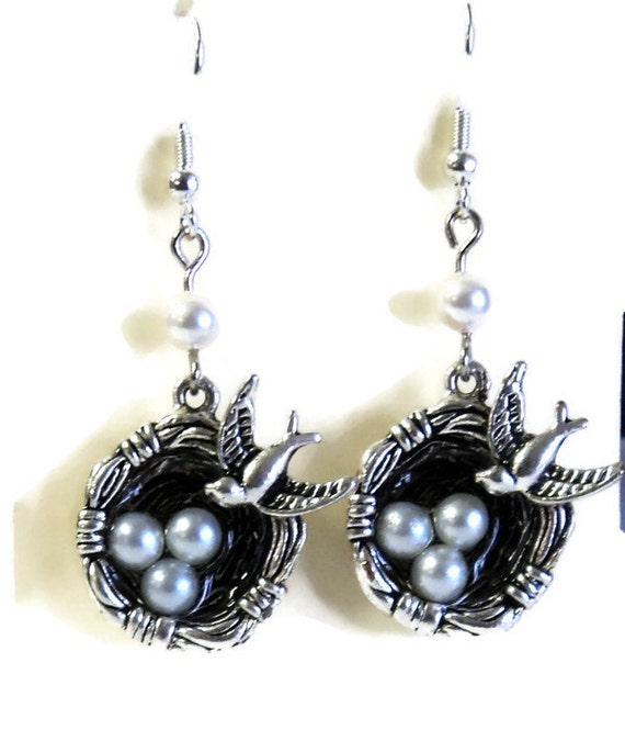 "Antique Silver Bird Earrings Eggs in a Nest,  Pierced Dangle  Earrings, Faux Pearls, Glass Pearls, 2"",  Gift for Her, Bird Lover Gift"