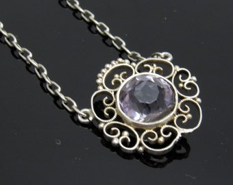 Sterling Filigree Pendant Necklace Amethyst Glass Choker Vintage Jewelry N7584