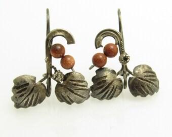 Sterling Leaf Goldstone Earrings Artisan Vintage Jewelry E7635