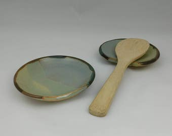 Ceramic spoon rest, blue and green