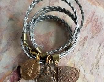 Buddha Bracelet, Metallic Silver Braided Leather