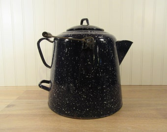 Large dark blue speckled enamelware kettle- nice condition, great home decor, enamel teapot, metal teapot