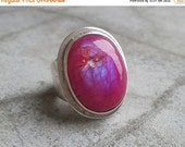 OOAK Artisan Pink Rainbow Moonstone Ring - Cabochon ring - Bezel ring - Oval ring  - Gemstone ring - Gift for her