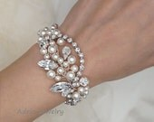 30% Off Sale Swarovski Crystals Wedding Bracelet Swarovski Pearls Bridal Bracelets - Ready to ship