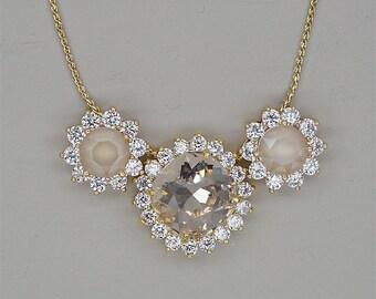 Champagne Necklace,Swarovski Crystal necklace, Bridal Necklace, Bridesmaids Necklace,  Gold Necklace, Champagne Crystal Necklace