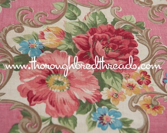 Stunning Floral on Pink - Vintage Fabric New Old Stock 40s 50s