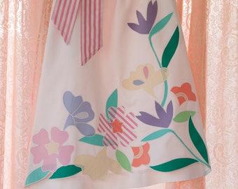 Happy Summer Floral - Vintage Preppy Applique Skirt