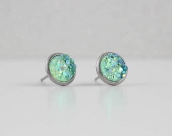 Fresh Mint Druzy Crystal Earrings | ATL-E-160