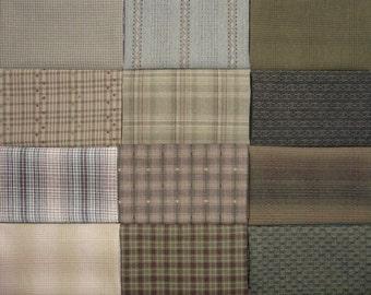 Japanese Yarn Dyed Fabrics - 12 green fat eighths