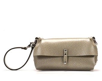 Taupe Wristlet | Taupe Wrist Bag | Taupe Clutch | Vegan, Made in USA