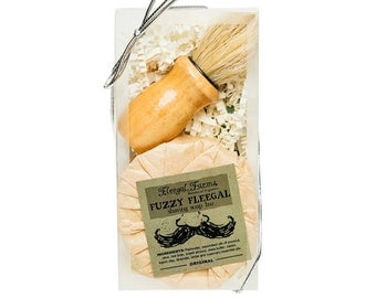 Shave Soap Boar Bristle Brush Gift Set Box. Natural Palm Free Soap. Natural Brush.