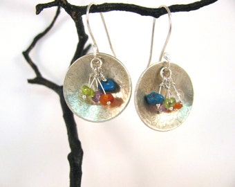 Sterling Silver Disk Earrings with Mixed Gemstones RKS523