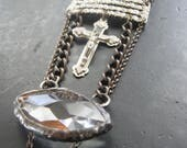 She Who Sees - Assemblage Necklace - Antique Chandelier Prism Antique Rhinestones Crucifix and Carnelian Stone