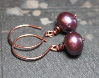 Pink Pearl Earrings Copper Luxe Rustic Jewelry
