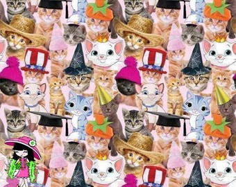 Cats in hats 1/2 yard cotton lycra knit