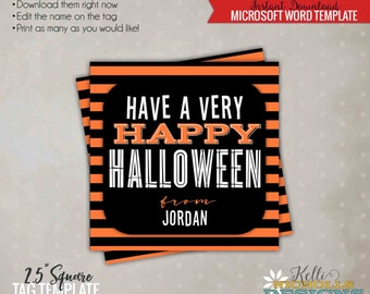 Have a Very Happy Halloween Printable Tag, Halloween Candy Bag Tag Template, Printable Instant Download