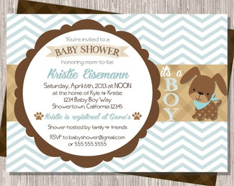 Puppy Dog Baby Shower Invite, Baby Boy Shower Invitation Blue & Brown 5x7 printable
