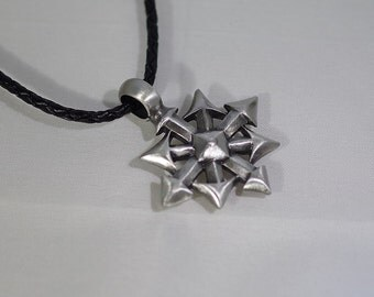 Pewter Cross with Arrowheads on Leather Cord Necklace - UNISEX - Two color choices - Two length choices
