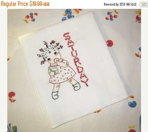 WINTER CLEARANCE SALE Vintage Embroidered Black Americana Dow Towel Little Girl Bakes on Saturday