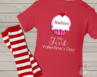 Baby's First Valentine's Day cupcake RED bodysuit and matching leg warmer set FVCBLW