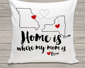Mom gift - home is where mom is personalized throw pillow - adorable Mother's Day gift PIL-097