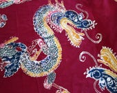 Batik Dragon Panel, Very Long Piece (3 Yds) Maroon Batik or Block Print Cotton Fabric with Dragons, Lions, Flowers, Chinese or Asian Decor