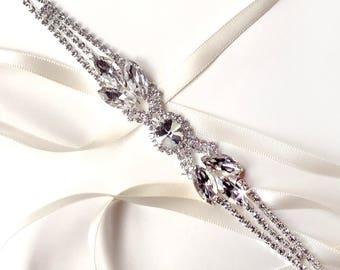 Headband - Spectacular Crystal Bridal Headband - Custom Satin Ribbon - Rhinestone Headband or Thin Belt - Standard Length