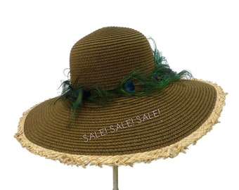 """Women's Straw Hat Size Large, Summer Hat  in Two Tone Brown with Fringe is Fashionably Fun, Light Weight, and on """"SALE! SALE! SALE!"""""""