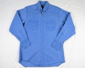 Vintage Wrangler Mens Western Shirt, Thick Chambray, BLUE Pearl Snaps