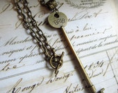 Large Skeleton Key Necklace, EXTRA LONG Chain at 30 Inches, Industrial, Steampunk, Antique Brass Finish