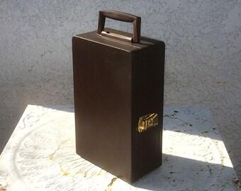 """Vintage Travel Bar - Two Bottle Holder, Brown Faux Leather Case, Black Interior, """"Trav'L Bar"""" by Ever Wear, Original Key!"""