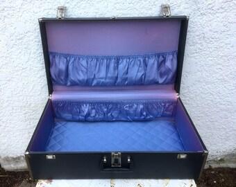 Vintage Dark Grey Suitcase, Silver Metal Trim  - Fancy Blue-ish Lavender Silky Interior